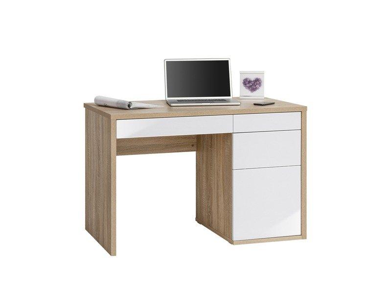 Schreib- und Computertisch Sonoma-Eiche - weiß Hochglanz