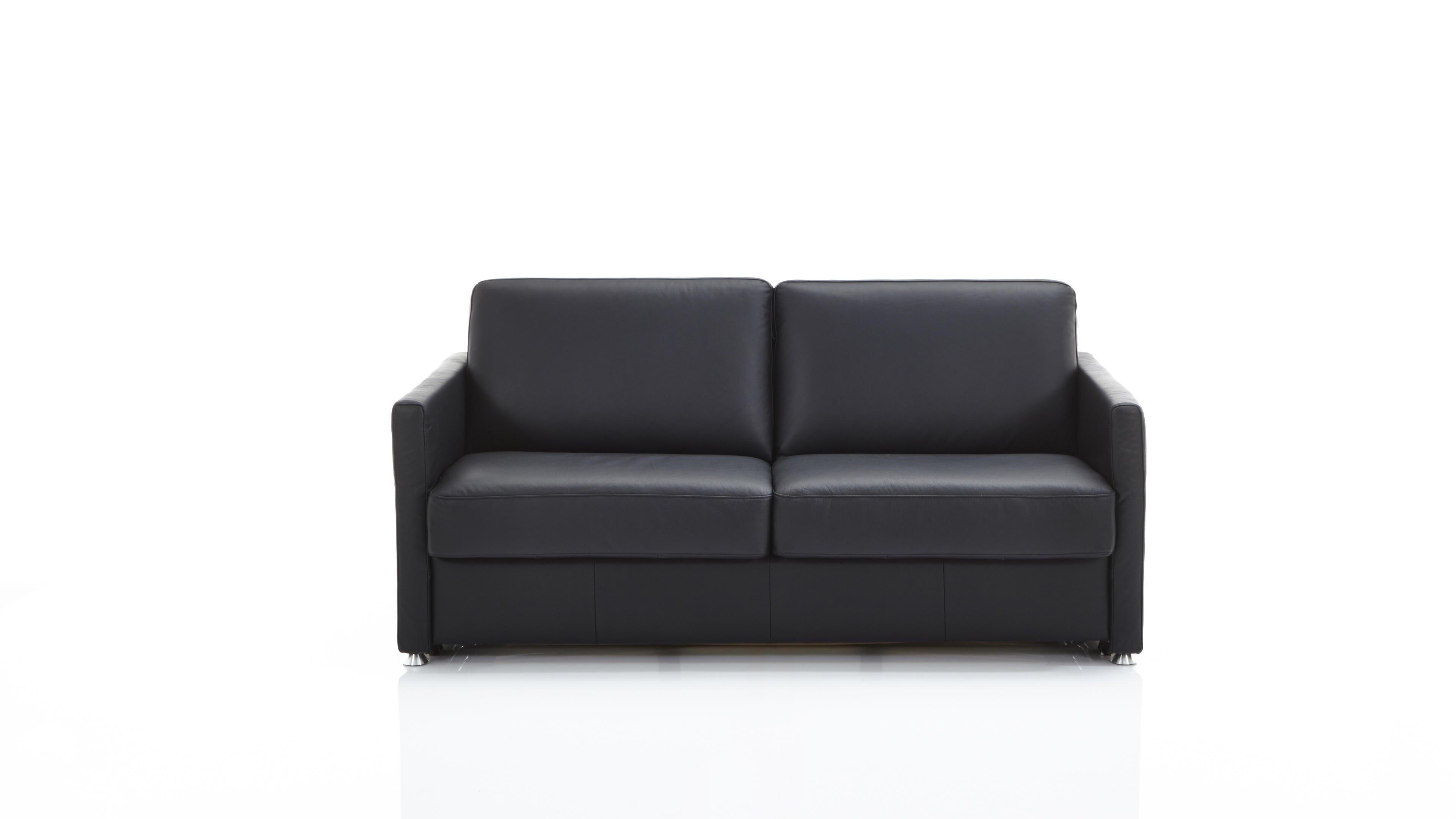 Schlafsofa Molto Schwarz schwarzes Leder 10-1014 & verchromte Metallfüße - Breite ca. 188 cm