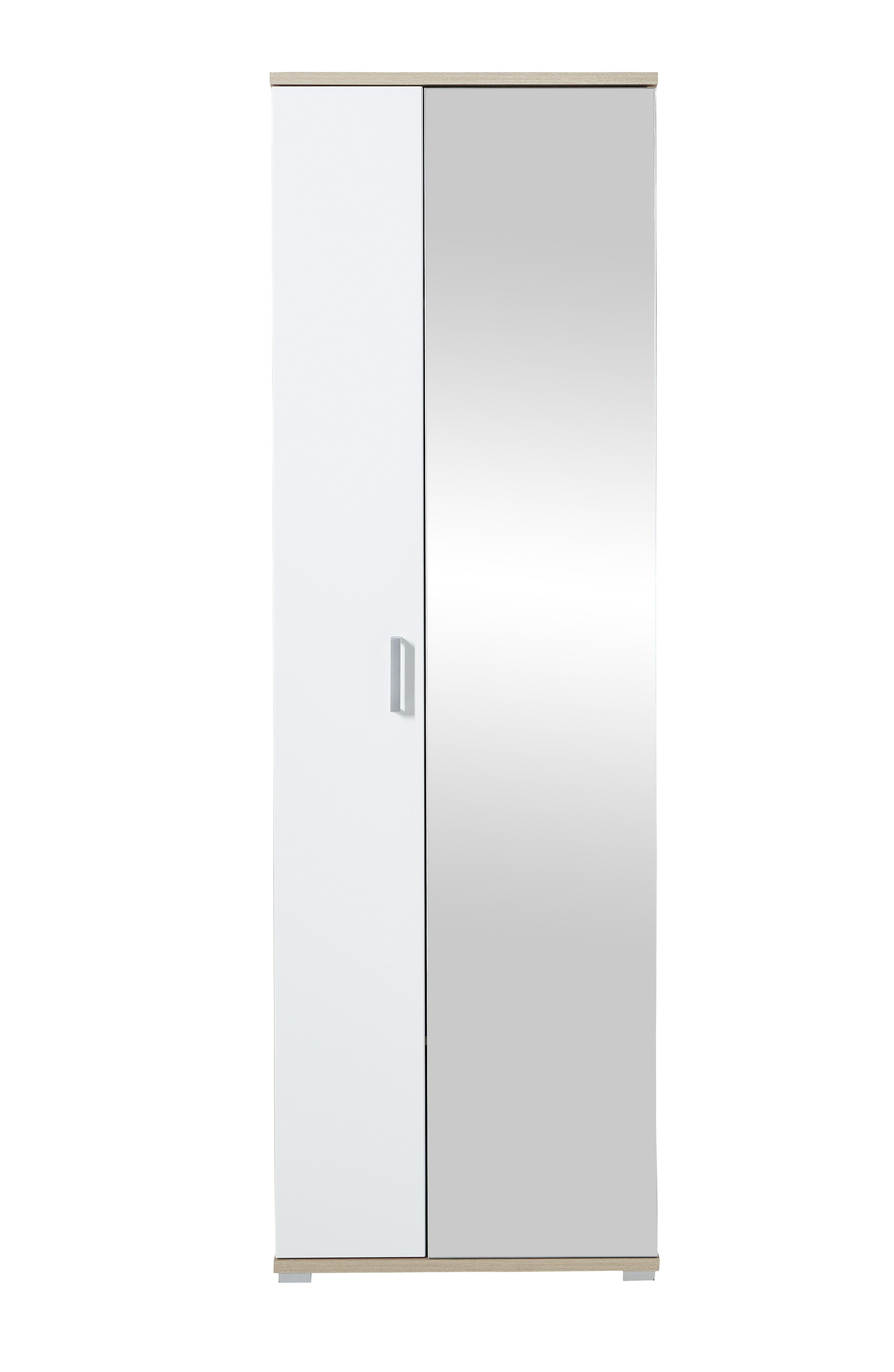 Kleiderschrank Arkona, weiß, braun, Eiche, Holz, Beschichtete Spanplatte