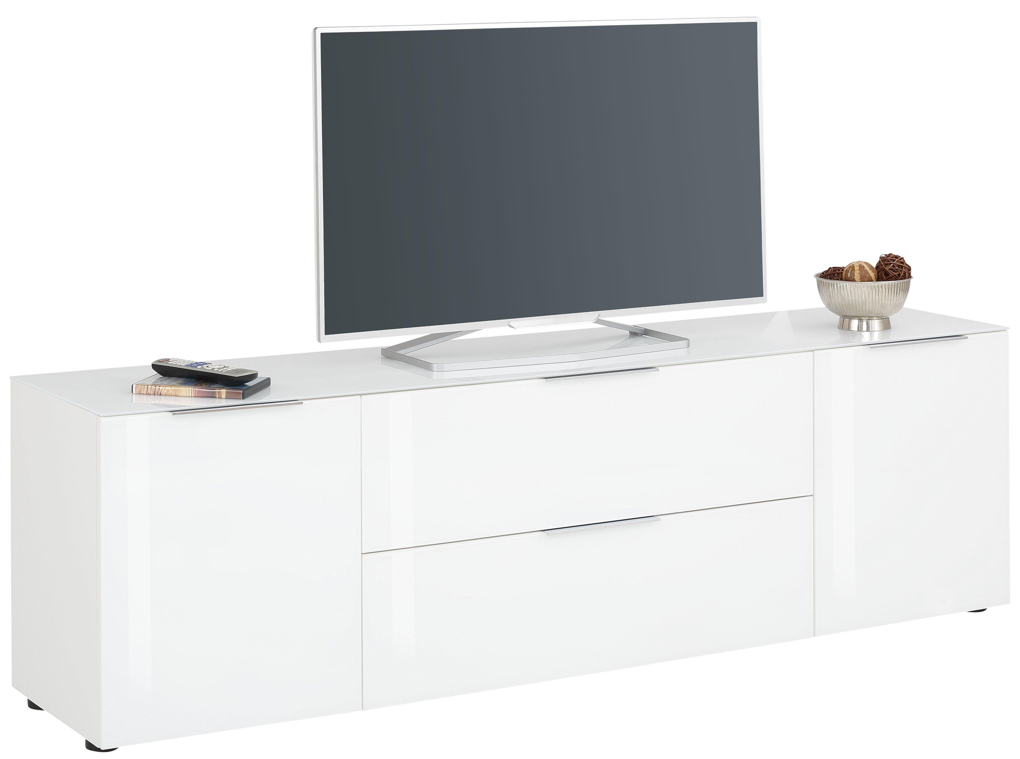 Lowboard weiß matt - Weißglas