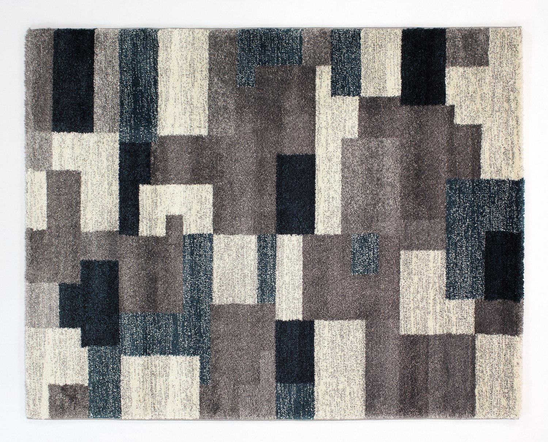 moderner Designer Teppich Öko-Tex STEADY ALLOVER grau-petrol