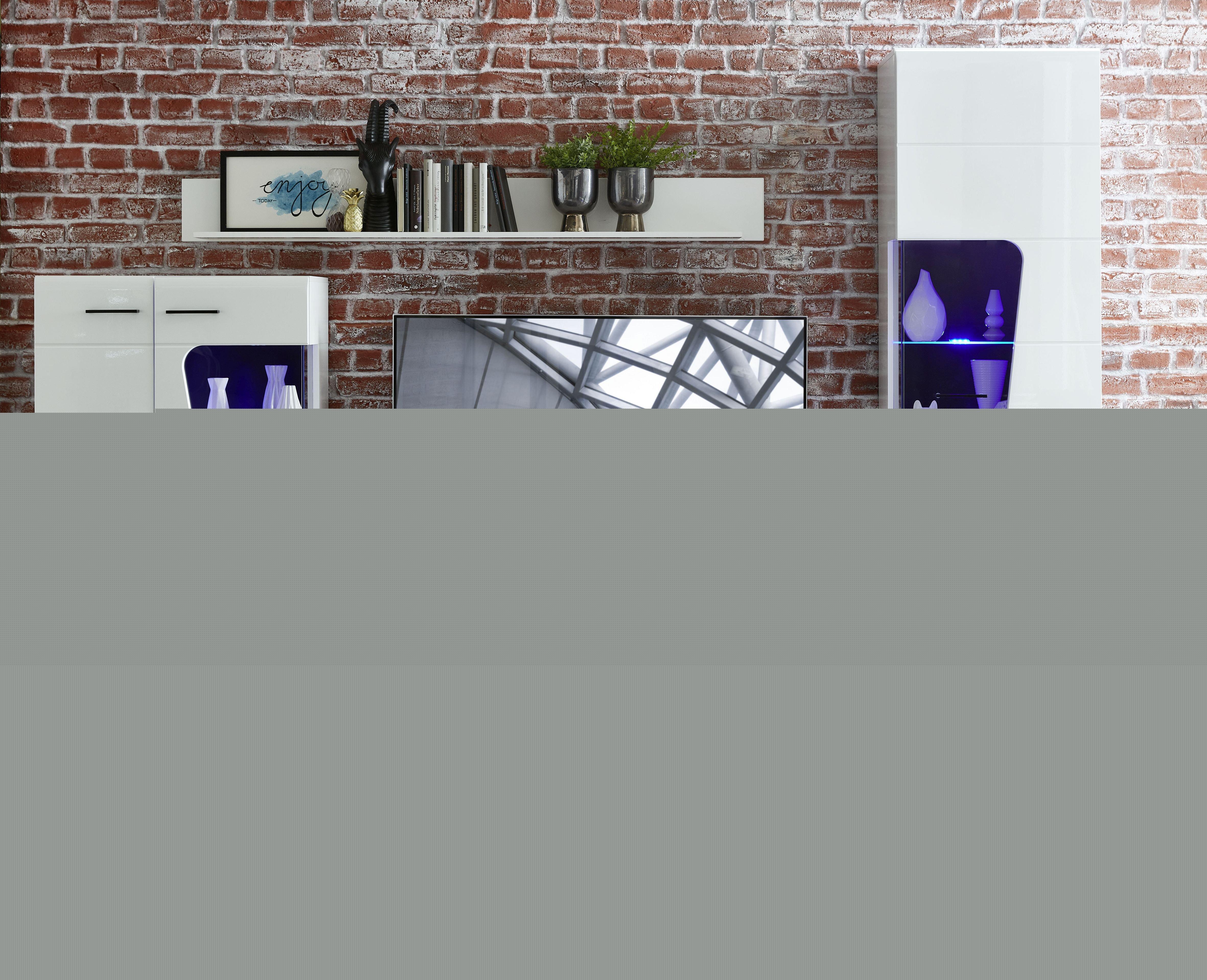 FUNNY PLUS TV-/Wohnlös.+B weiß/weiß HG MDF/Schwarz B/H/T ca. 322/205/47 cm