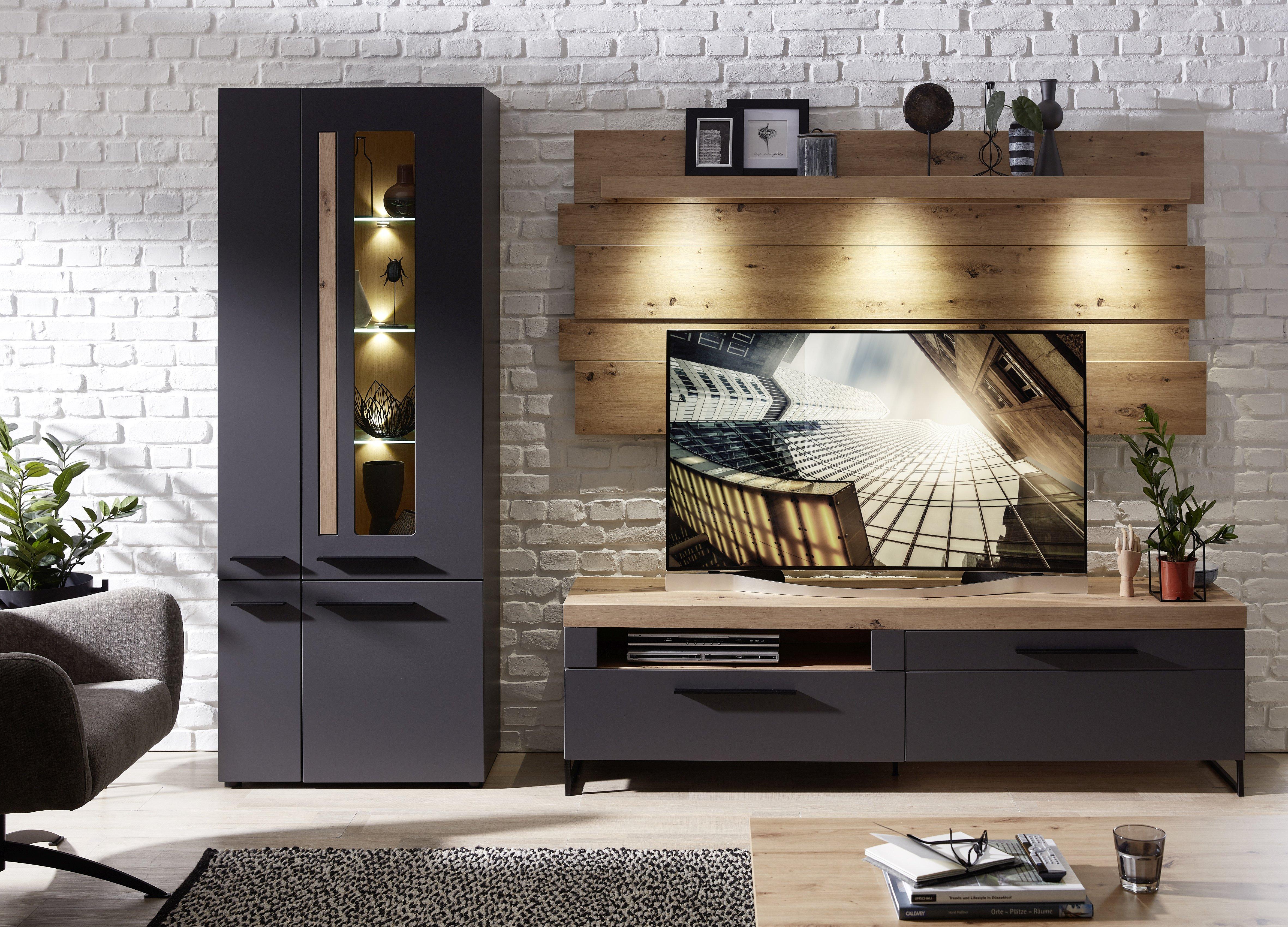 LOFT-TWO TV-Wohnlösung+BL ArtisanEiche/Graphit matt B/H/T ca. 288/201/44 cm