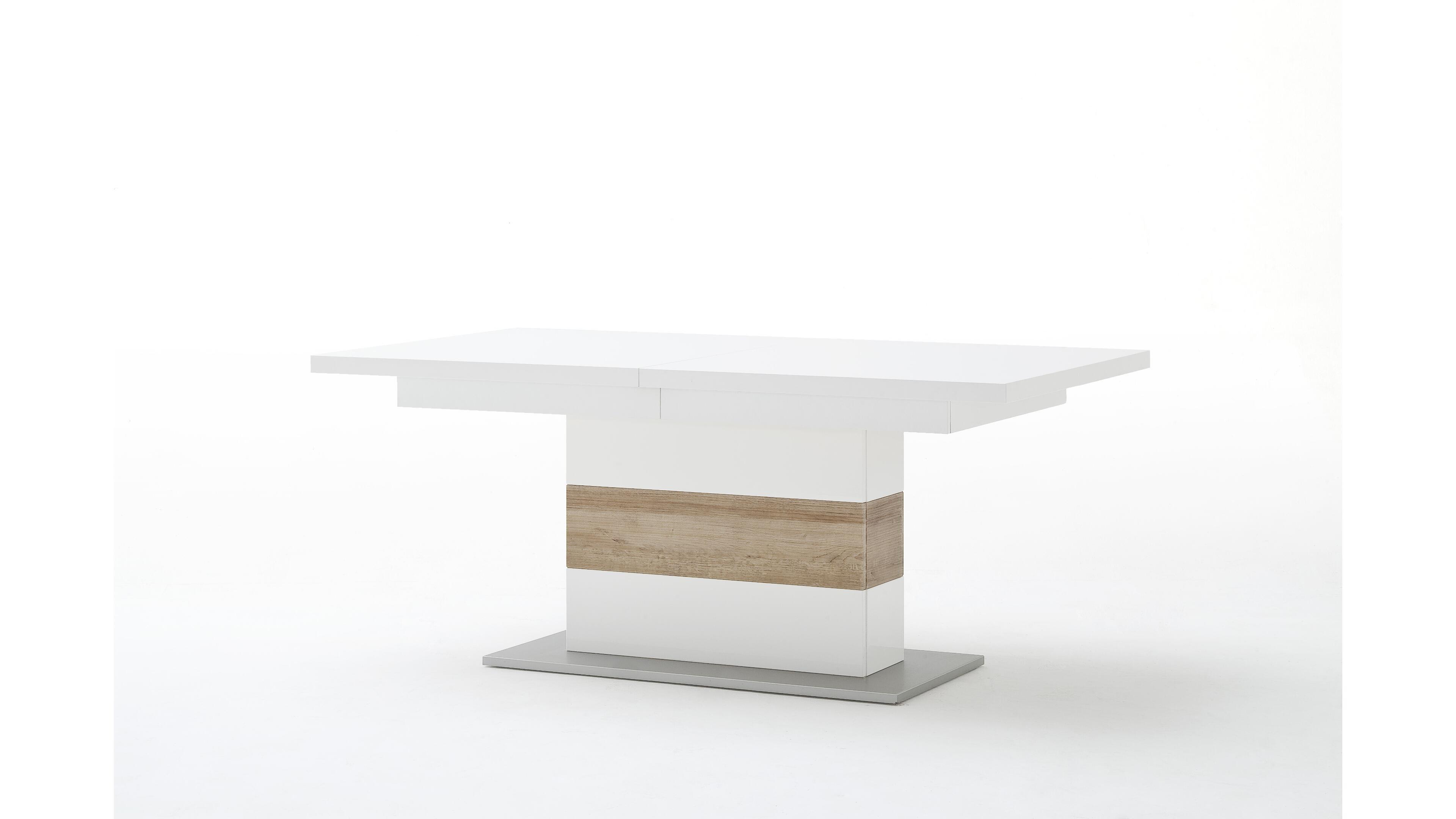 Esstisch Pamplona Front weiß/Eiche Nb./Klarglas