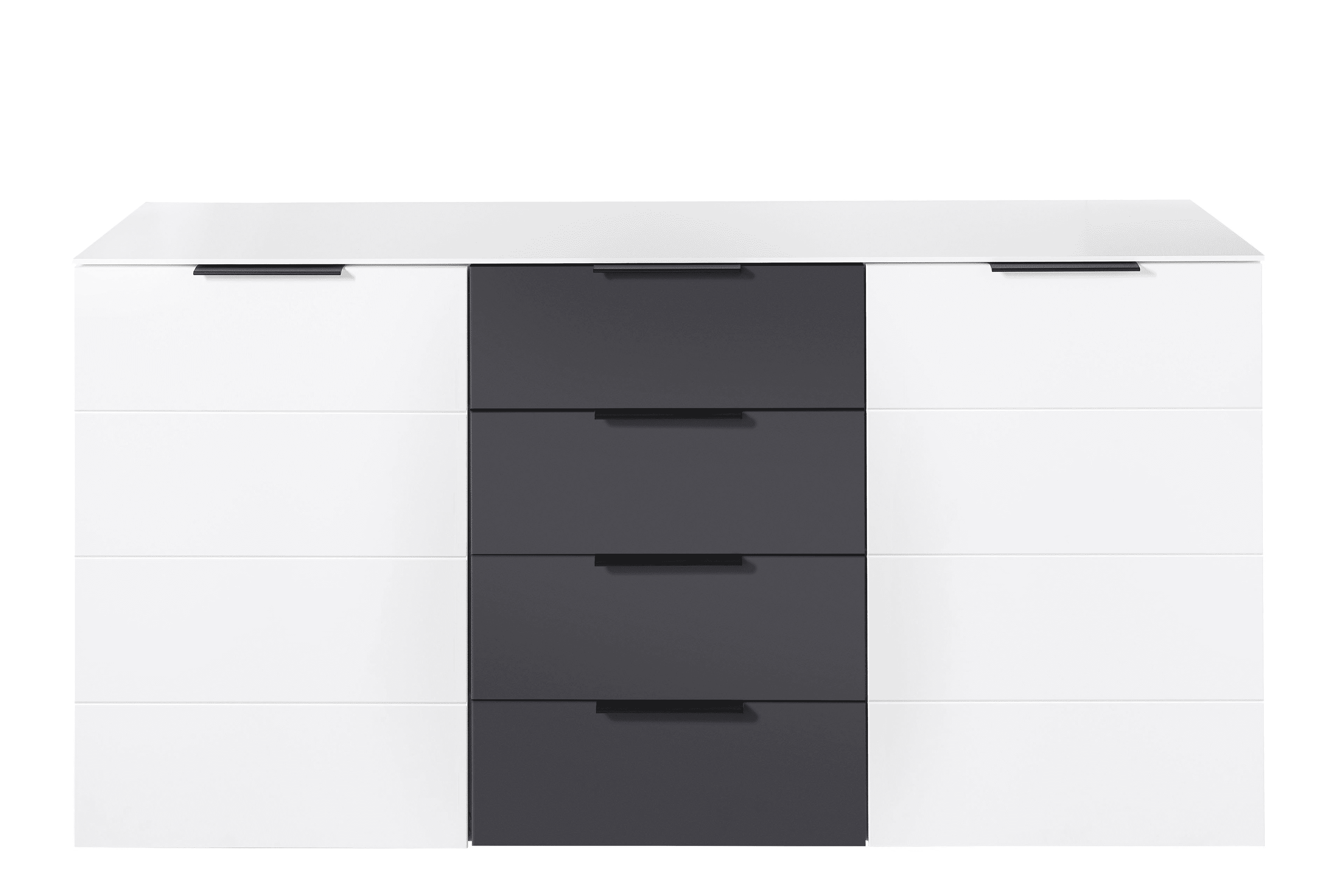 MEDIANA Sideboard weiß matt/graphit matt B/H/T ca. 180/90/44 cm