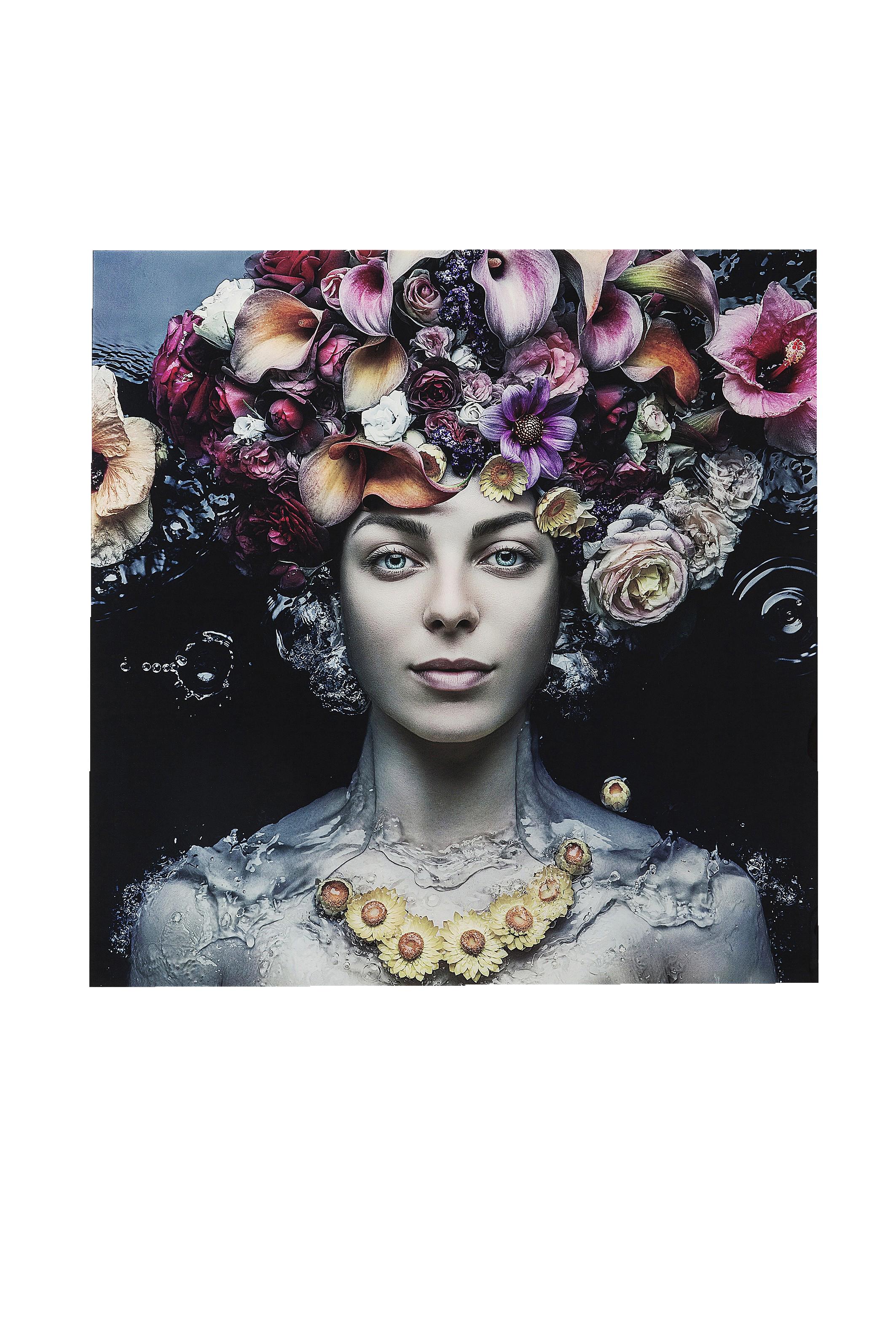 Bild Glas Flower Art Lady 120x120cm