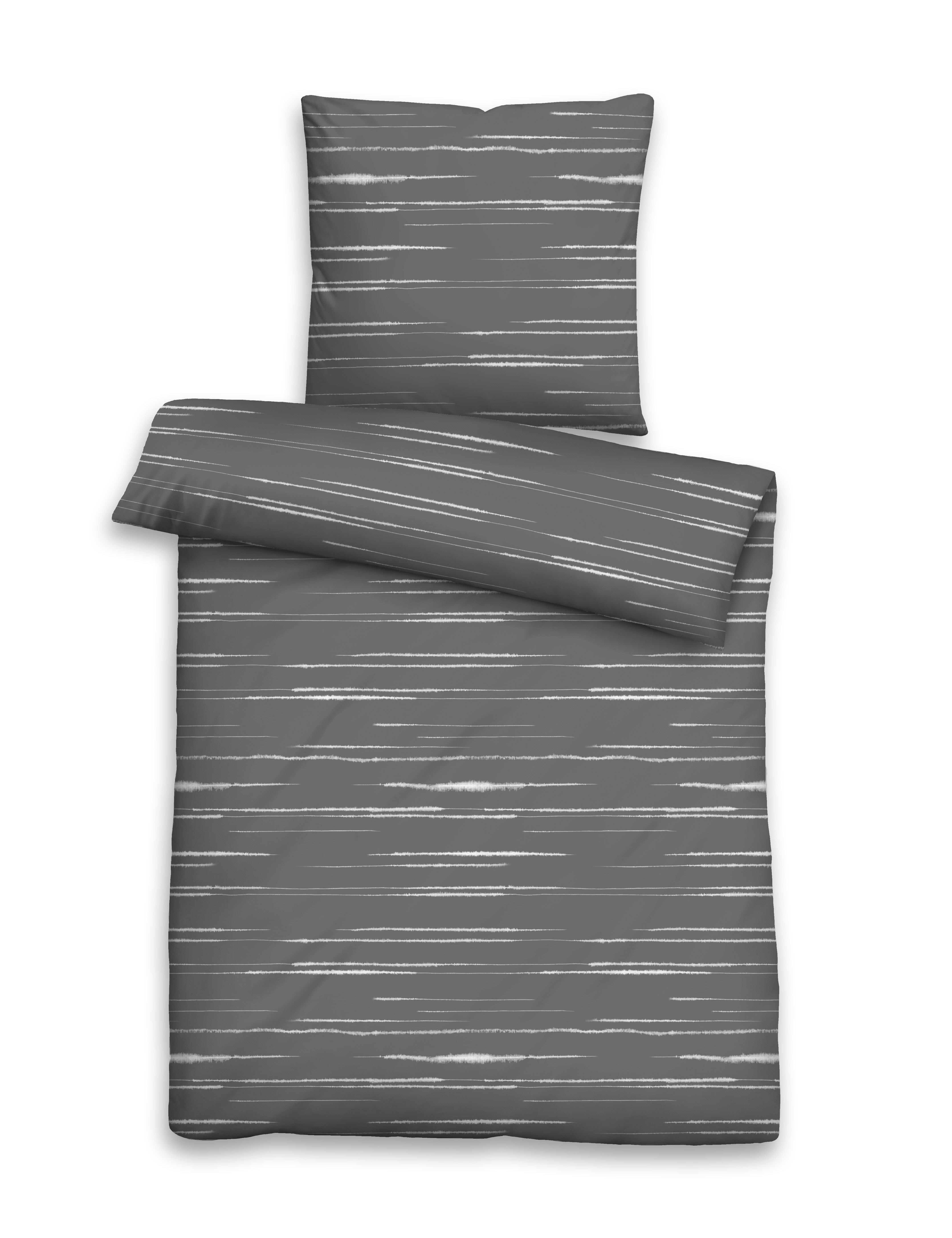 Mako-Satin Bettwäsche 155x220cm silber-grau