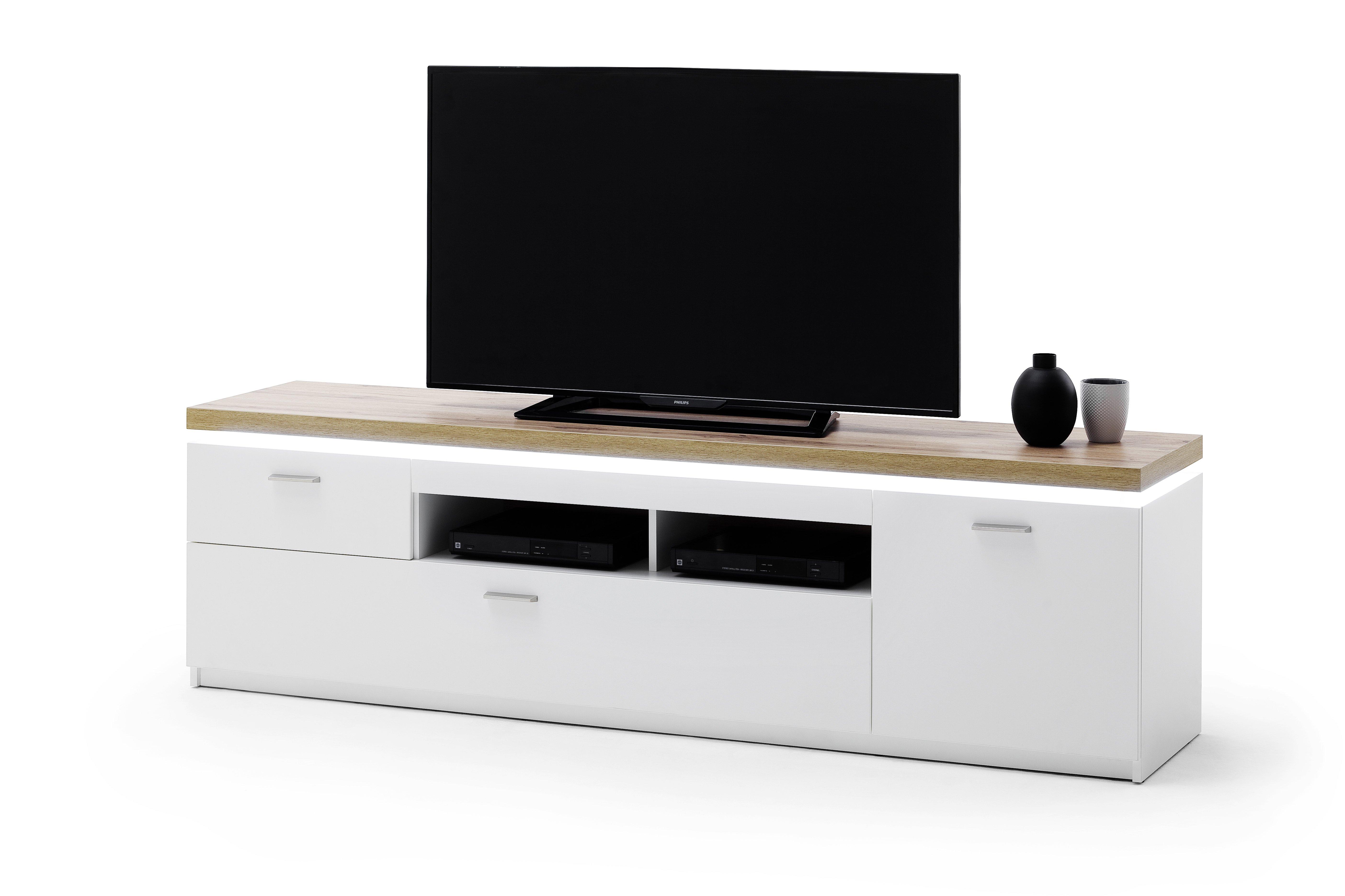 TV Element, weiß - Wotan Eiche
