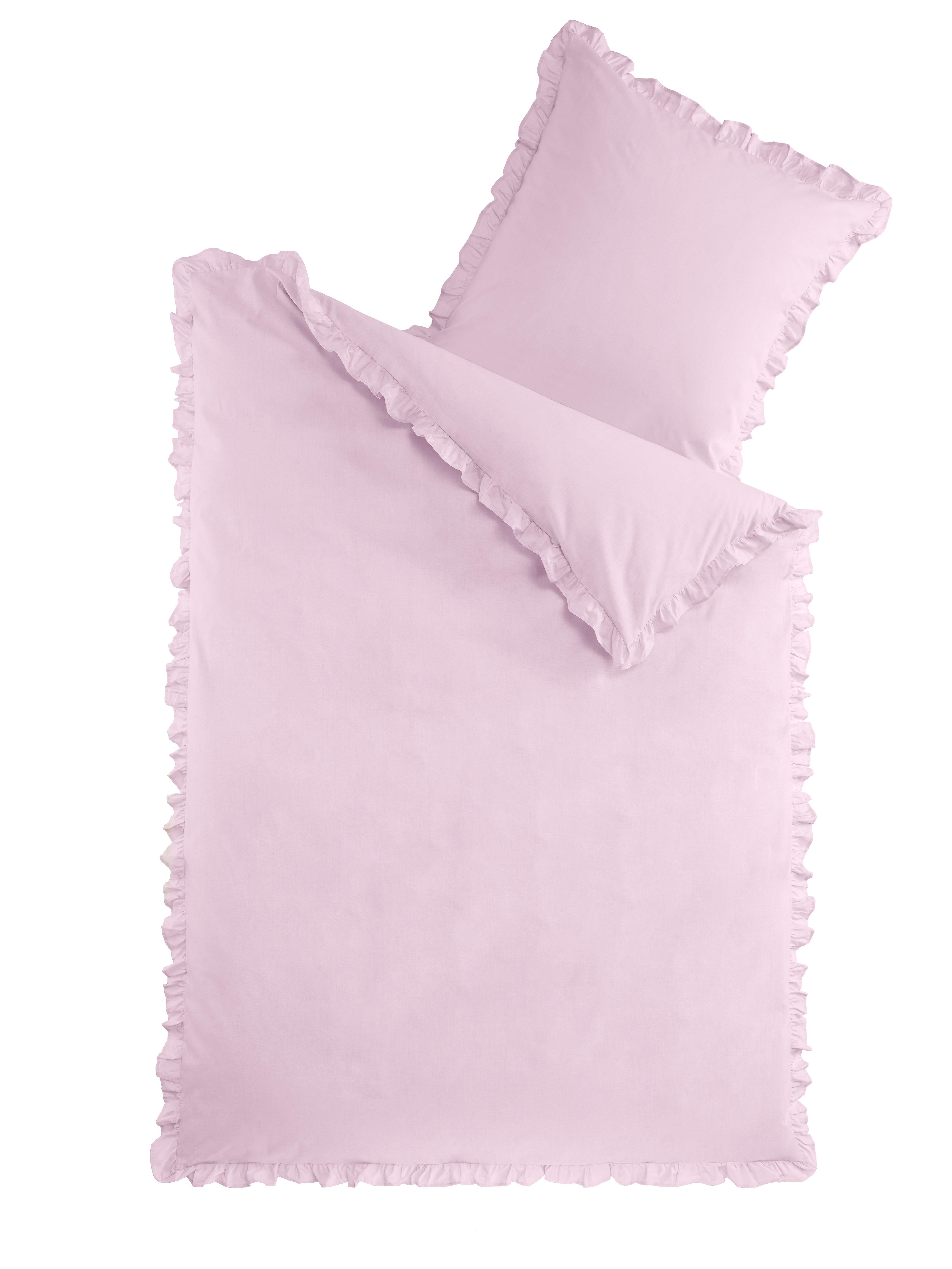 Bettwäsche Romantik mit Rüschen - Rose - 135x200cm