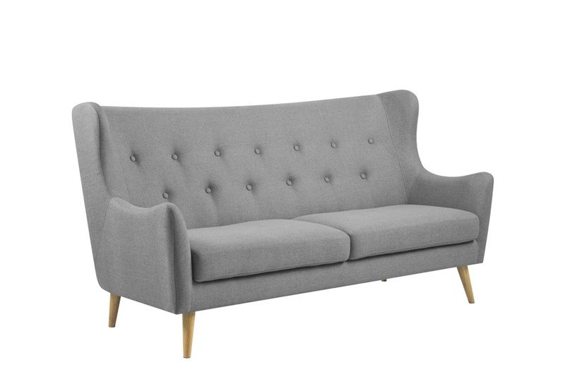 Kamma 3-Sofa, Rubberwood, Stoff