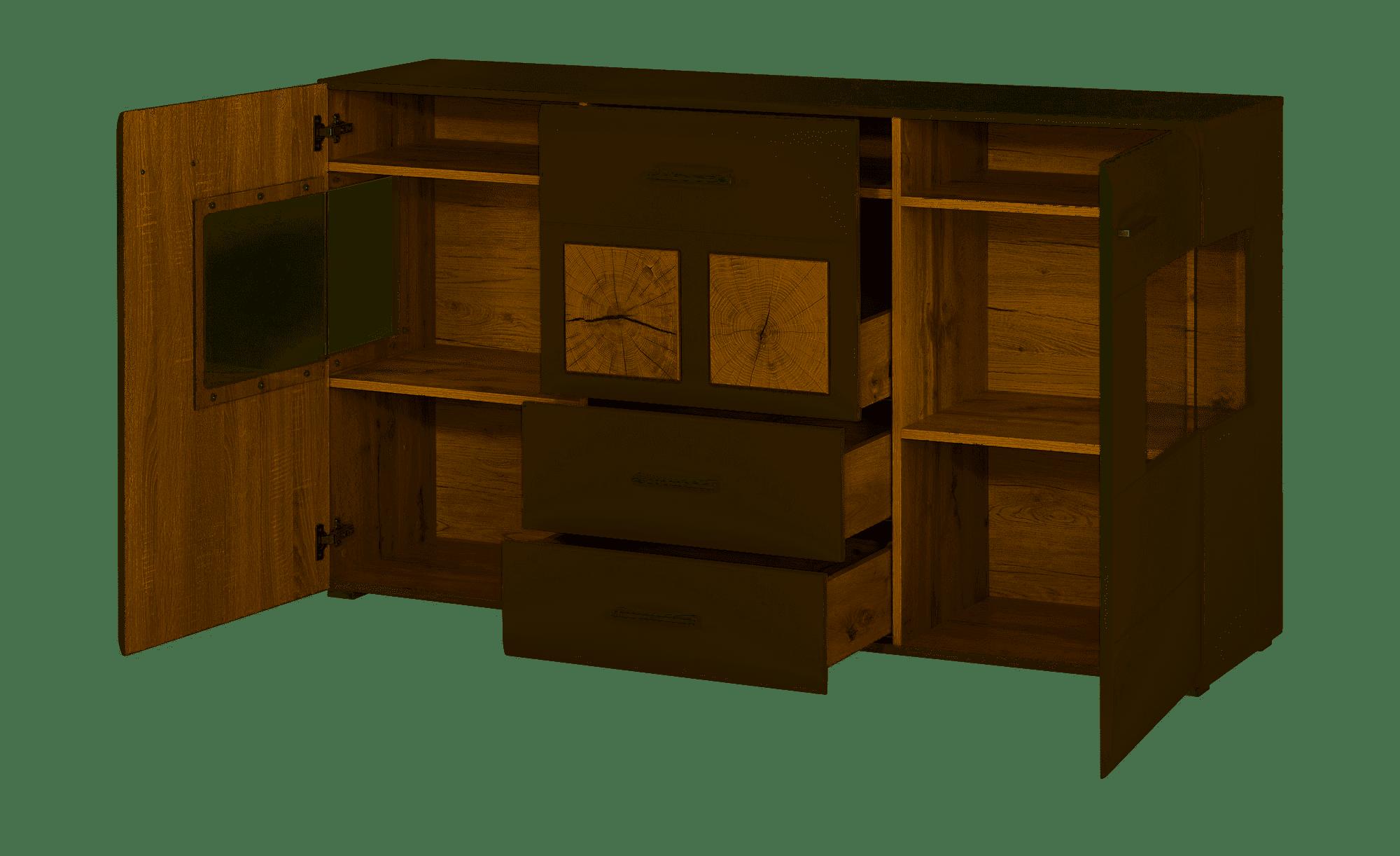 FUN PLUS II Sideboard+Bel Basalt/Eiche Altholz B/H/T ca. 170/94/42 cm