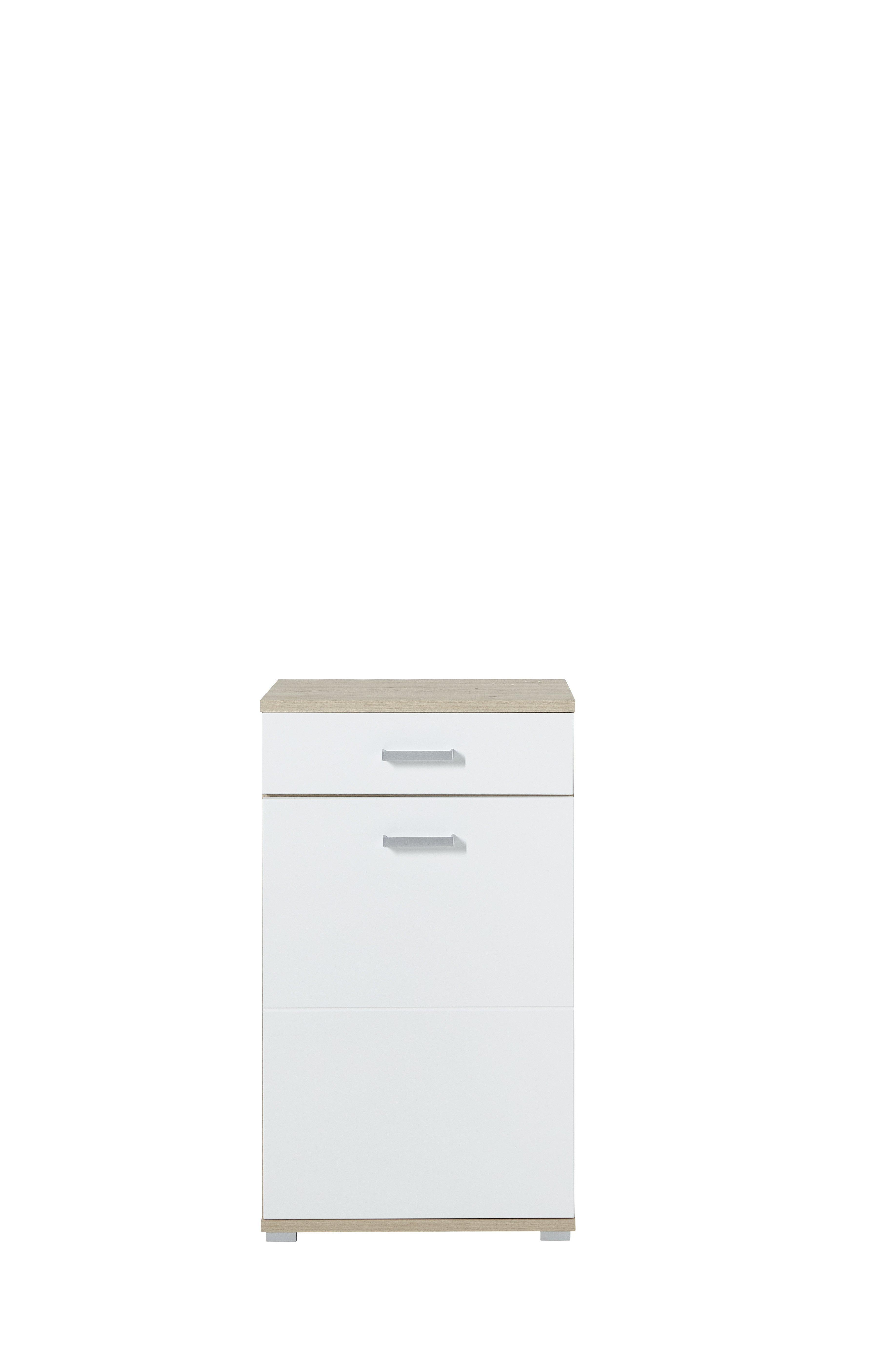Schuhschrank Arkona, weiß, braun, Eiche, Holz, Beschichtete Spanplatte