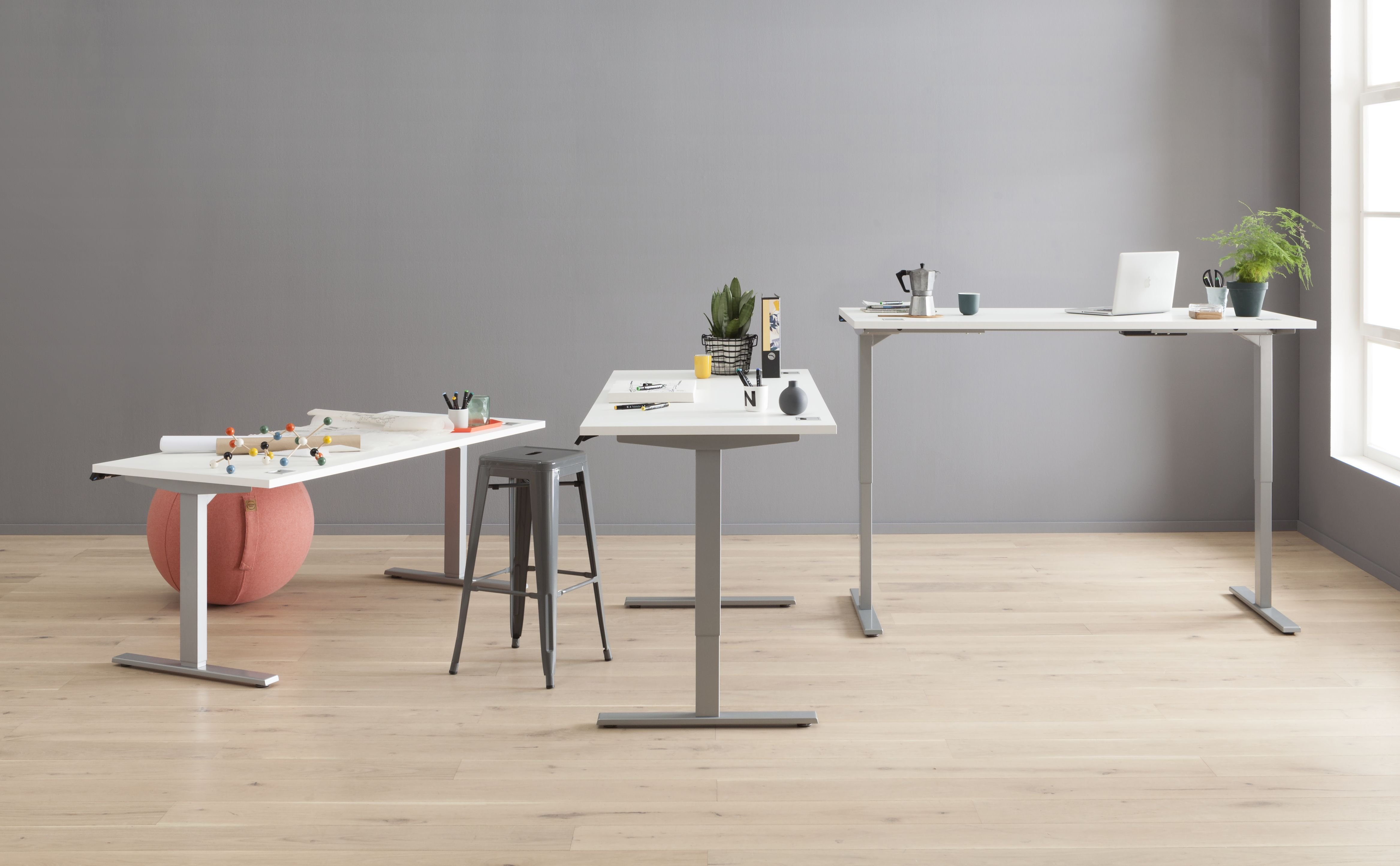 Schreib- und Computertisch Metall platingrau - weiß matt