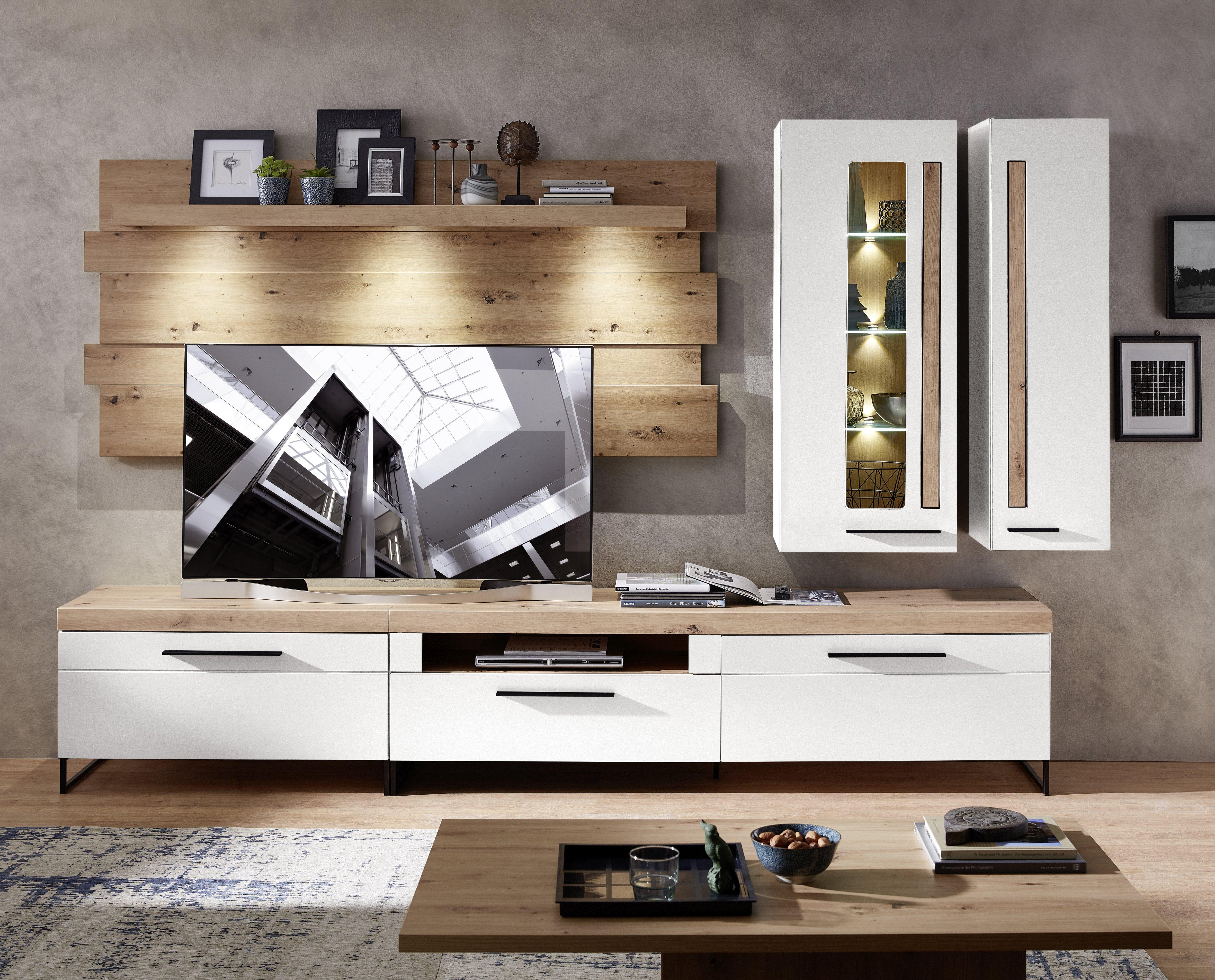 LOFT-TWO TV-Wohnlösung+BL ArtisanEiche/weiss matt B/H/T ca. 314/201/44 cm