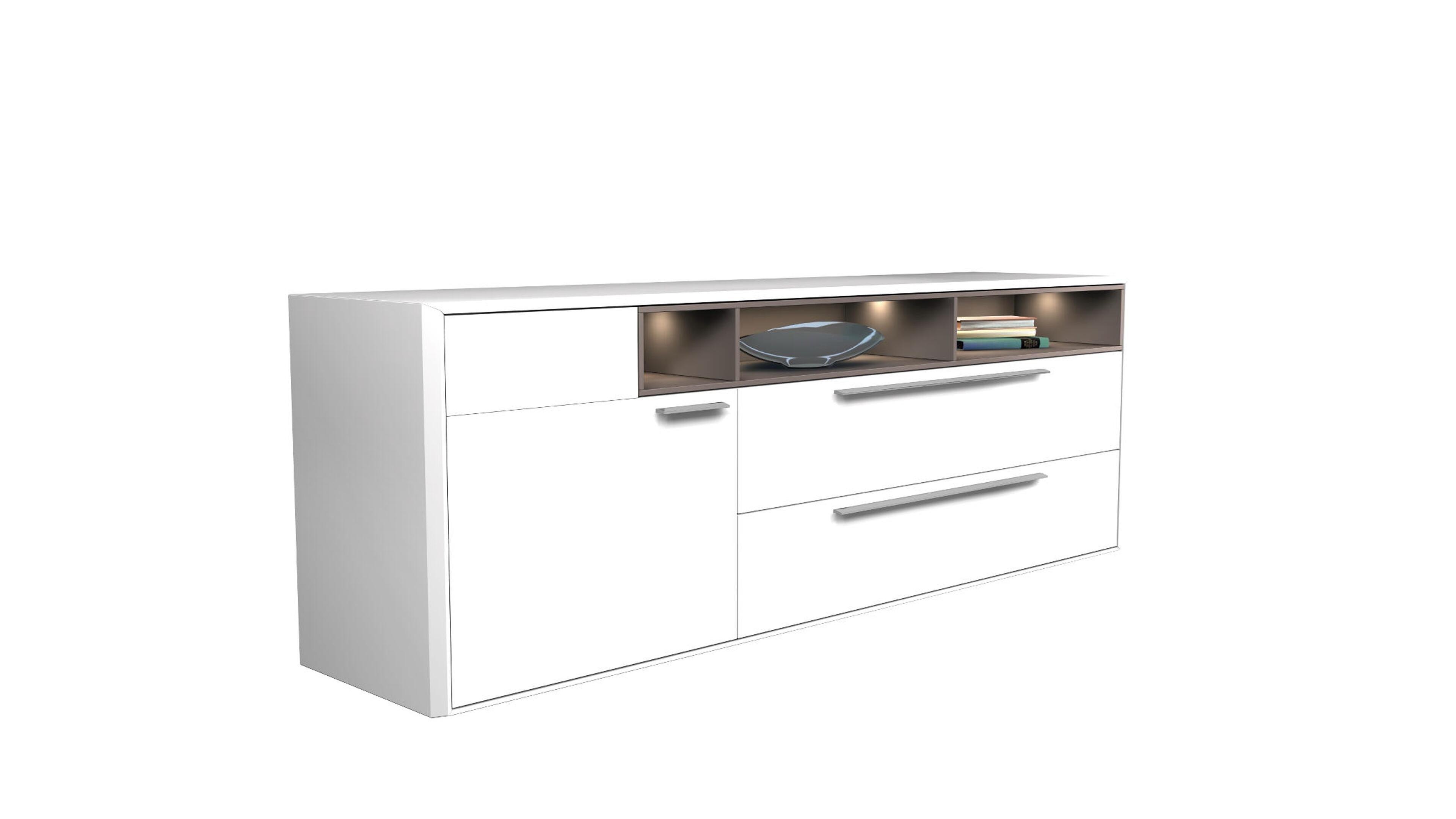 Sideboard V 8 FR: Weiß Mattlack, Lava Grau 020