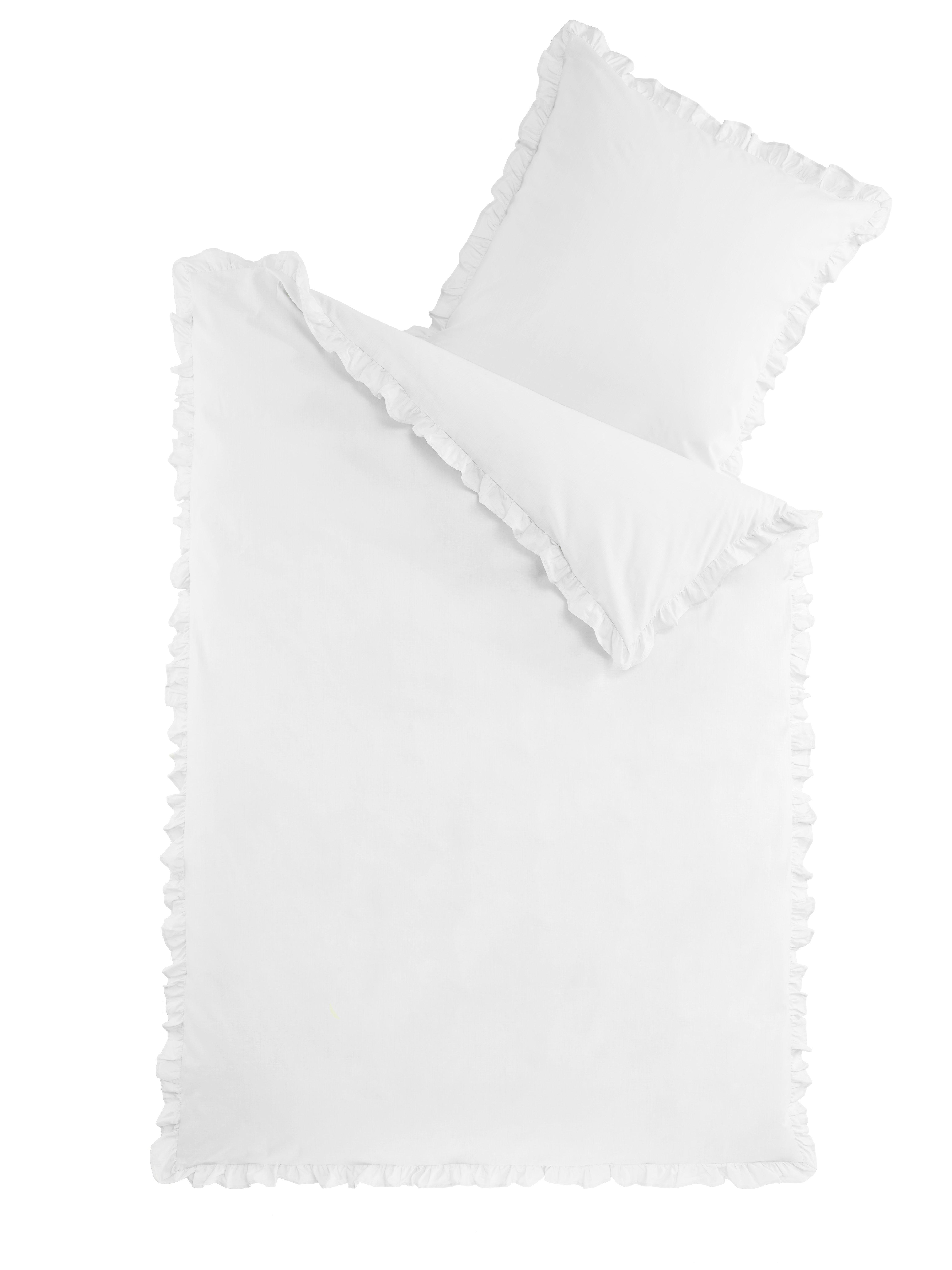 Bettwäsche Romantik mit Rüschen - Weiss - 135x200cm