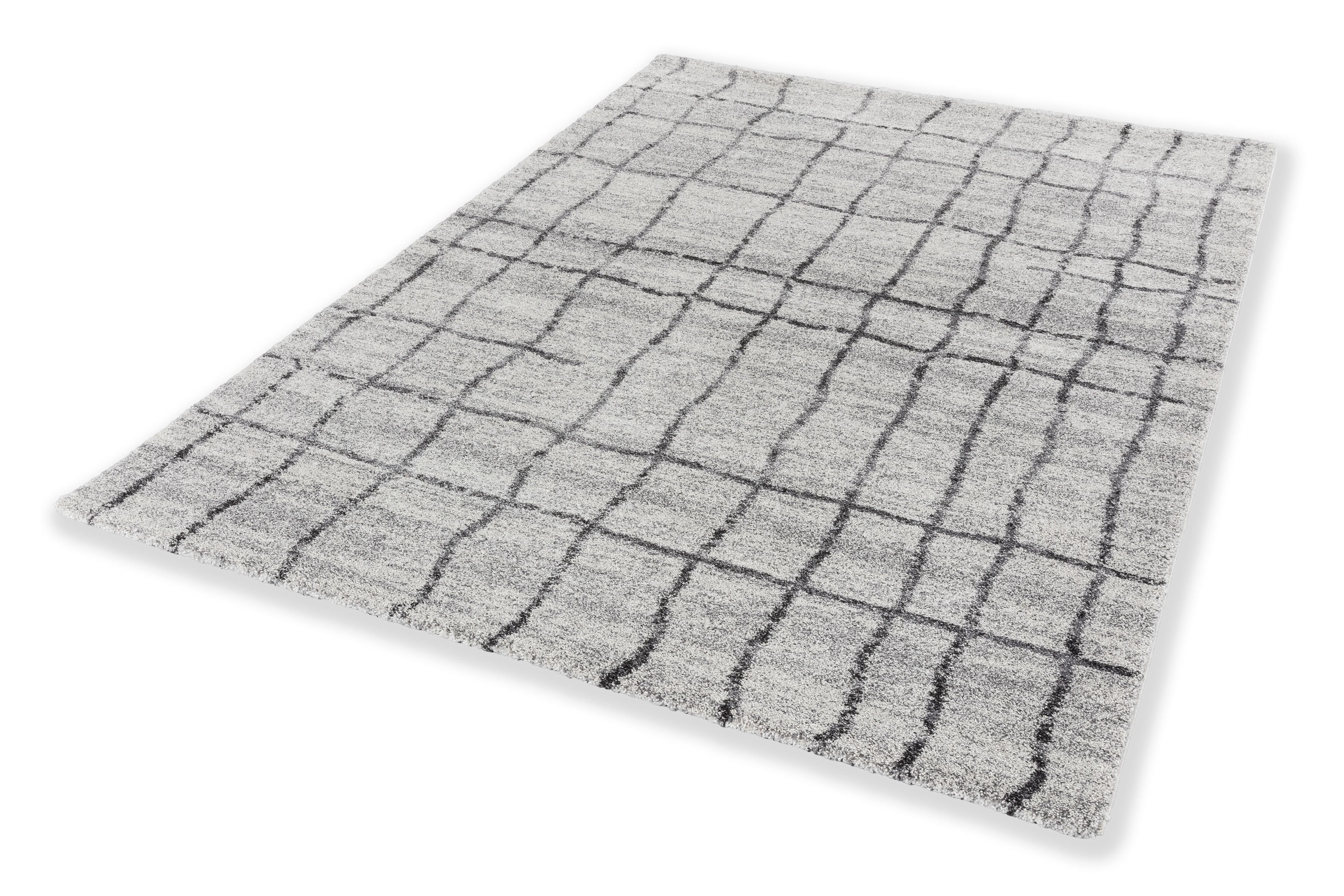 Webteppich Savona 200x290 cm Gitter Grau