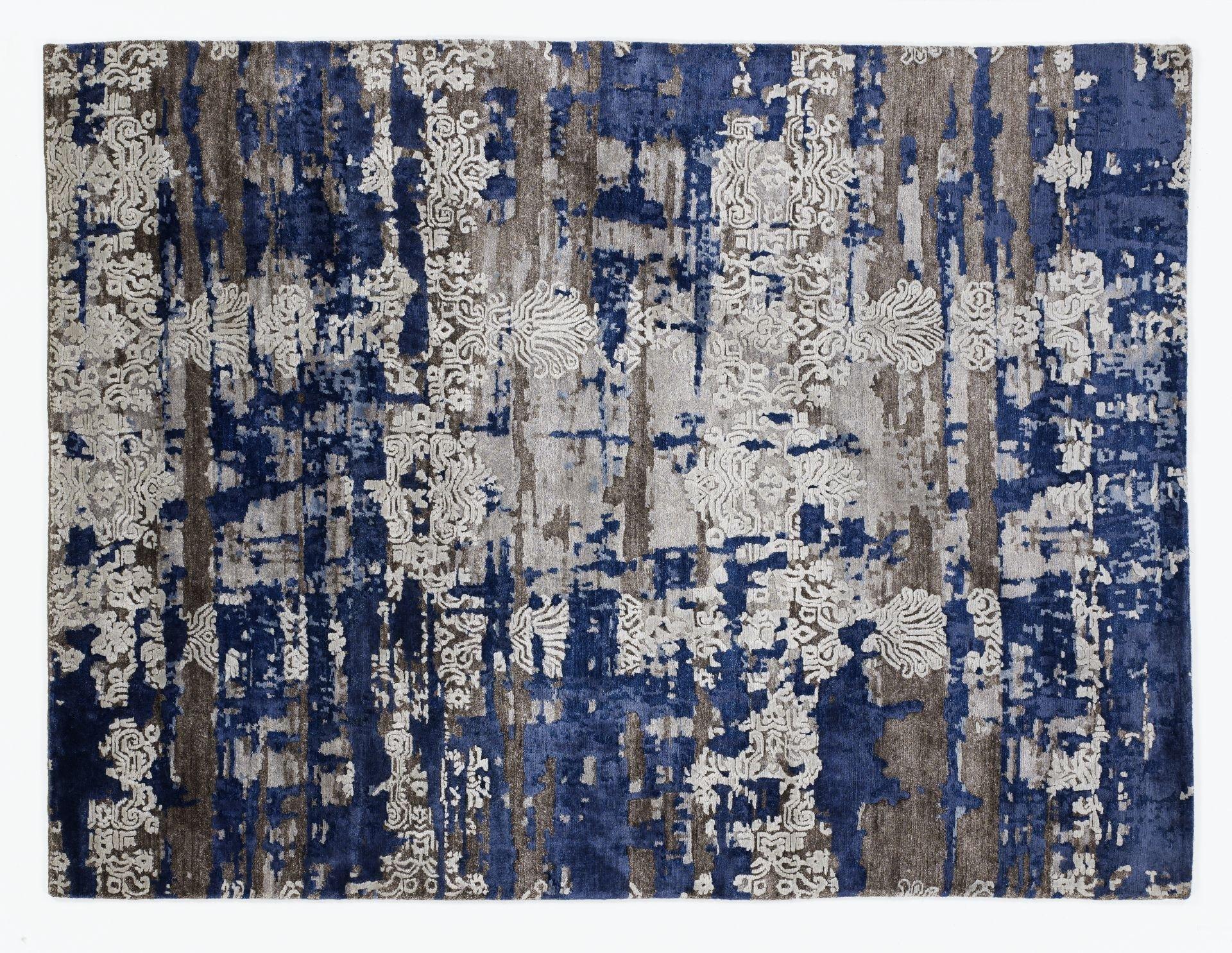 echter original handgeknüpfter Designer-Teppich SIGNATURE FUSION braun-blau